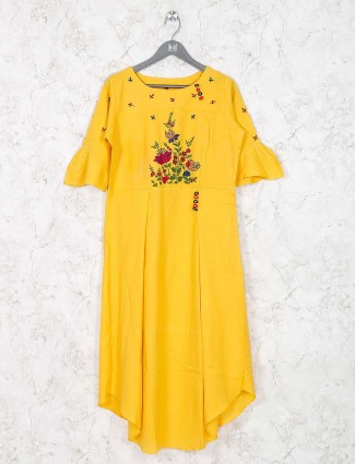 Yellow color pretty kurti in cotton