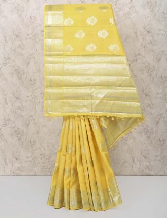 Yellow color pretty saree
