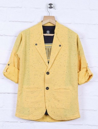 Yellow color printed cotton blazer