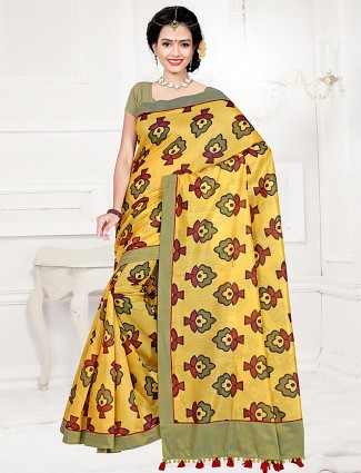 Yellow color printed cotton saree