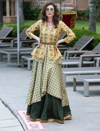 Yellow color printed kurti in cotton