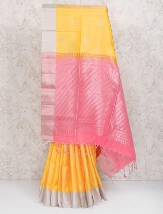Yellow color pure silk fabric saree