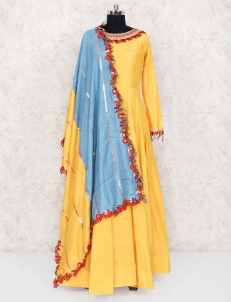 Yellow color raw silk floor length anarkali suit