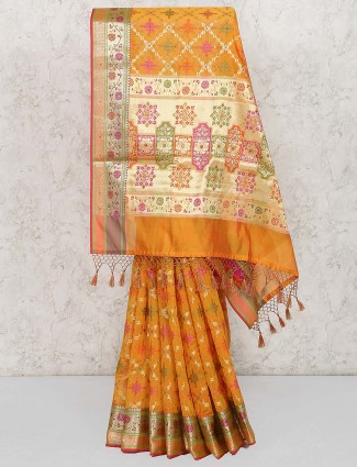 Orange color saree in banarasi semi silk