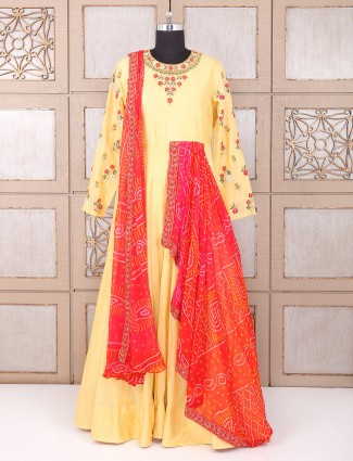 Yellow color silk fabric designer anarkali suit