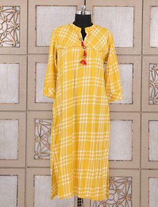 Yellow color simple cotton kurti
