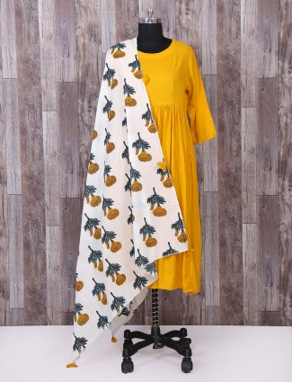 yellow color simple festive wear palazzo suit