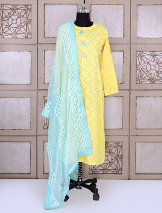 yellow color simple palazzo suit