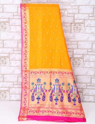 Yellow color simple silk saree