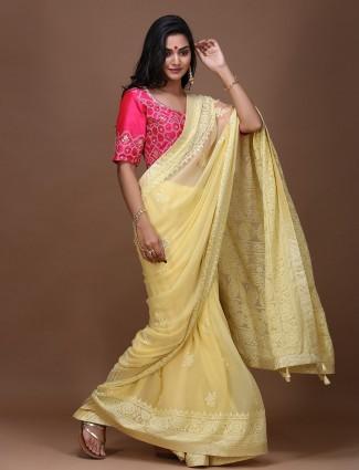 Yellow color wedding pure silk fabric saree