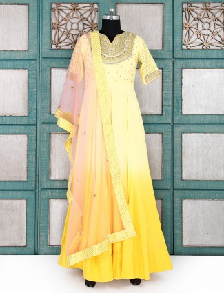 Yellow color wedding wear anarkali suit