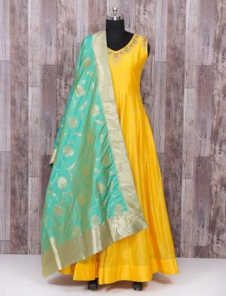 Yellow color weddingwear anarkali suit