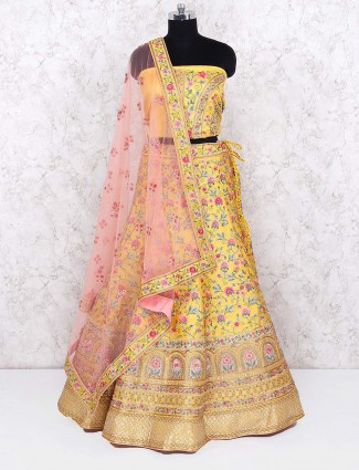 Yellow color wonderful semi stitched lehenga choli