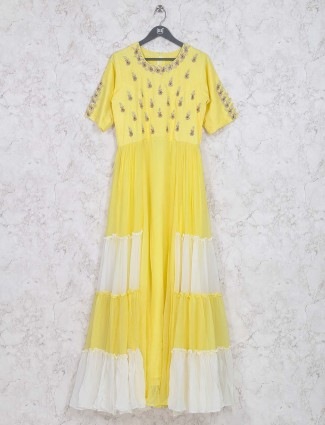 Yellow colored cotton fabric long kurti