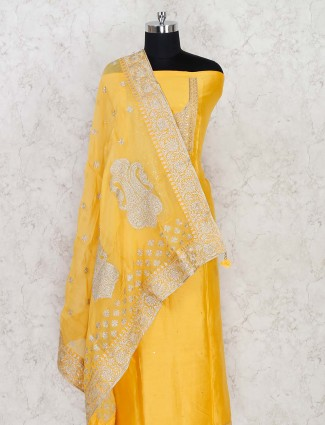 Yellow colored dress material in cotton silk