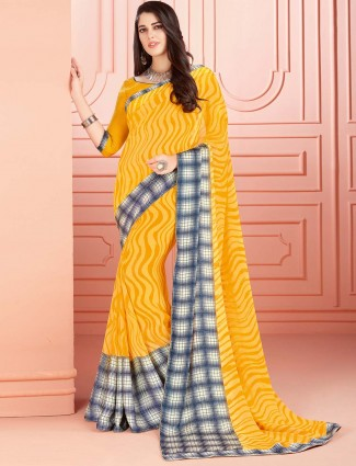 Yellow colored georgette fabric saree