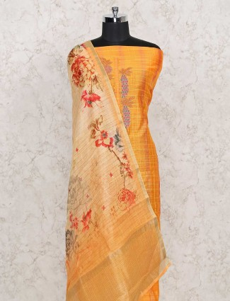 Yellow colour punjabi dress material in cotton