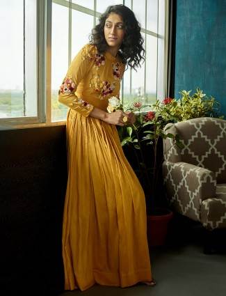 Yellow designer cotton floor length suit