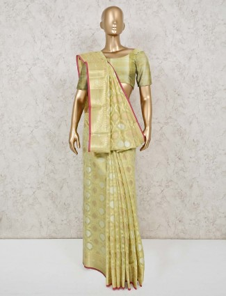 Yellow cotton banarasi silk festive saree
