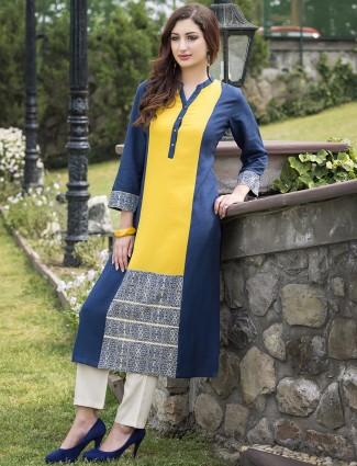 Yellow cotton casual kurti