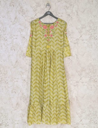 Yellow cotton casual wear printed kurti