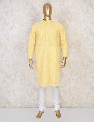 Yellow cotton classic kurta suit for mens