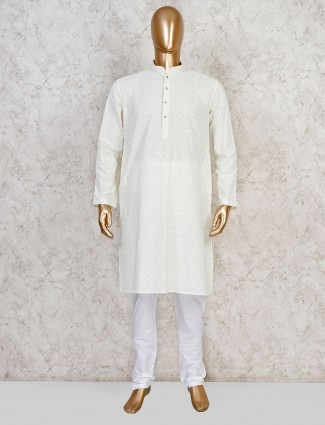 Yellow cotton evening look festive kurta suit