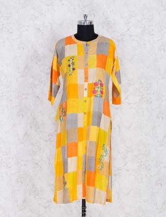 Yellow cotton fabric casual wear kurti