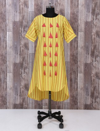 Yellow cotton fabric palazzo suit