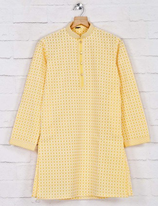 Yellow cotton festive days kurta pajama