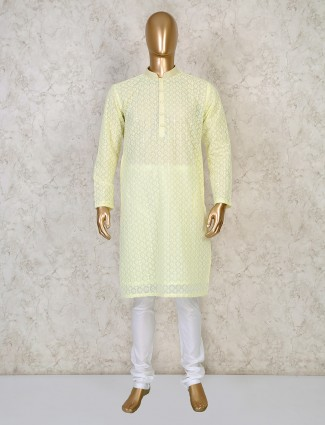 Yellow cotton festive days kurta suit