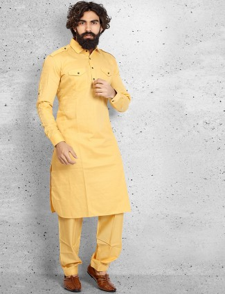 Yellow cotton festive pathani suit