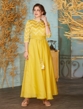 Yellow cotton festive wear anarkali suit