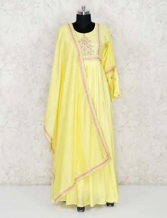 Yellow cotton festive wear floor length anarkali salwar suit