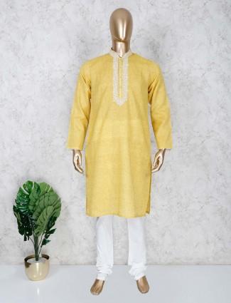 Yellow cotton festive wear kurta suit for mens