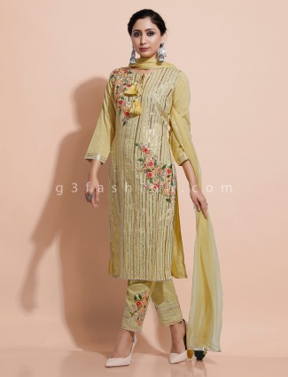 Yellow cotton festive wear kurti set