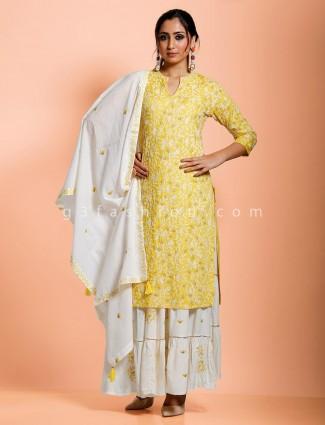 Yellow cotton keyhole neck punjabi sharara set