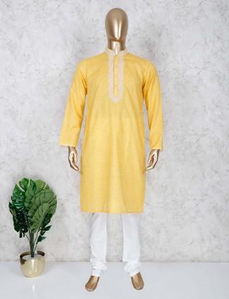 Yellow cotton kurta suit festive wear
