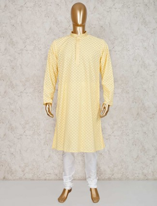 Yellow cotton kurta suit in festive wear