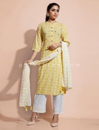 Yellow cotton kurti and pant set for festive