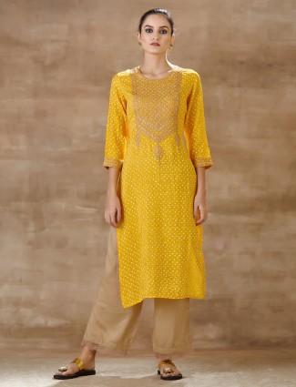 Yellow cotton kurti set for festive wear