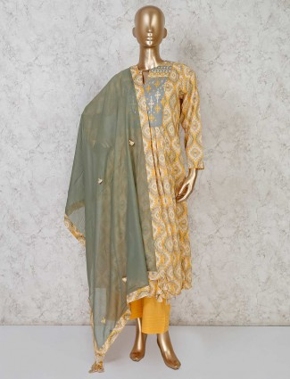Yellow cotton palazzo suit in festive wear