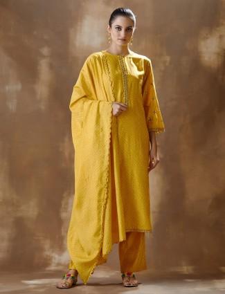 Yellow Cotton Pant Salwar Suit For Festivals