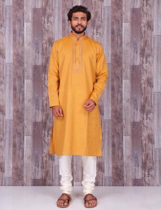 Yellow cotton plain kurta suit