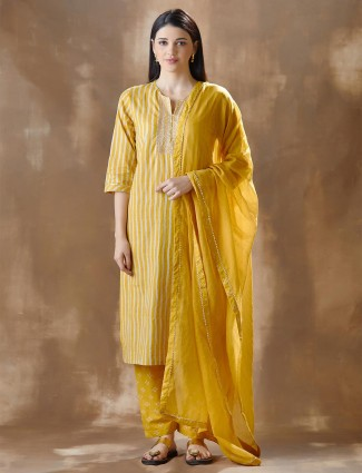 Yellow cotton printed kurti with pant for festive session