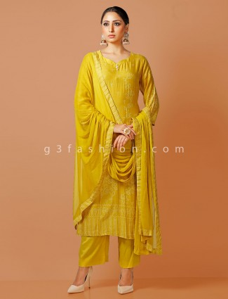 Yellow cotton printed sweetheart neck pant suit