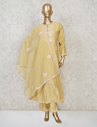 Yellow cotton punjabi pant suit for party wear