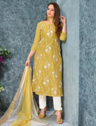 Yellow cotton punjabi salwar suit festive wear