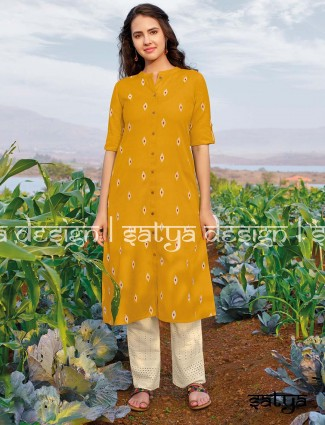 Yellow cotton quarter sleeves kurti