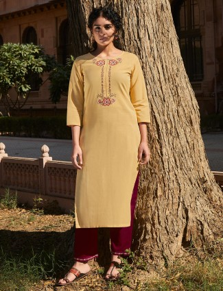 Yellow cotton quarter sleeves punjabi suit